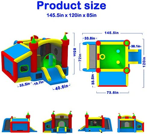 WELLFUNTIME Inflatable Bounce House,Jumping Castle Slide with Blower,Kids Bouncer with Ball Pit