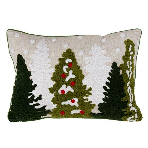 (SARO LIFESTYLE Mountain Pines Design Poly Blend Christmas Tree Down Filled Accent Throw Pillow, 13