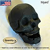 Myard Fireproof Human Fire Pit Skull Gas Logs for NG, LP Wood Fireplace, Firepit, Campfire, Halloween Decor (Qty 3, Black)