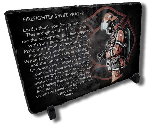 Firefighter Wife's Prayer Slate Plaque from Redeye Laserworks