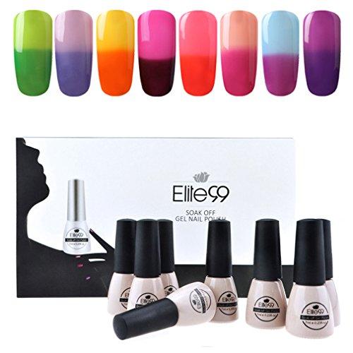 Elite99 Temperature Color Changing Gel Nail Polish Kit 8 Col