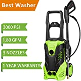 Schafter ST3 3000 PSI Power Washer, 1800W Pressure Washer, 14.5-Amp Electric Pressure Washer, High Pressure Washer Cleaner Machine for Car/Vehicle/Patio/Driveway/Floor/Wall/Furniture W/ 5 Nozzles