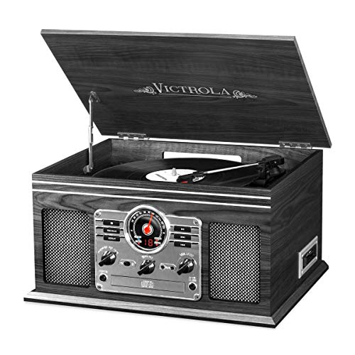 Victrola Nostalgic Classic Wood 6-in-1 Bluetooth Turntable Entertainment Center, Graphite (Table Decor Victorian)