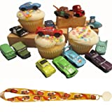 Disney CARS Cake Cupcake Toppers - Decorations/Favors- 14 Cars & Lightning McQueen Lanyard