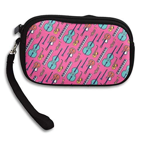 Jazz Instruments Sax Electronic Organ Cello Coin Pouch Clutch Purse Wristlet Wallet Phone Card Holder Handbag -