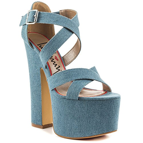 Luichiny Women's Jaw Dropper Platform Sandal,Light Blue Denim,US 8 (Luichiny Womens Dress Sandals)