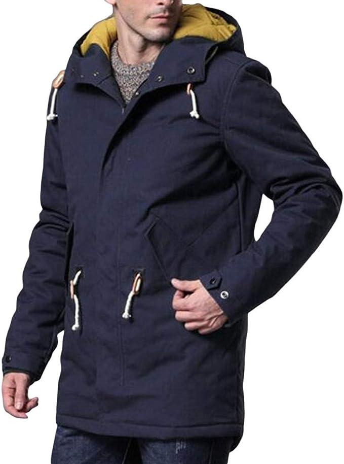 Allthemen - Abrigo de invierno con capucha para hombre