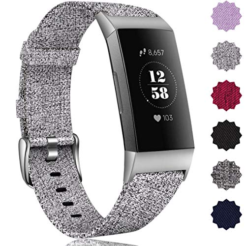 Maledan Bands Compatible with Fitbit Charge 3 & Charge 3 SE Fitness Activity Tracker for Women Men, Breathable Woven Fabric Replacement Accessory Strap (Light Grey, Small Size: 5.3-6.8 Wrist)