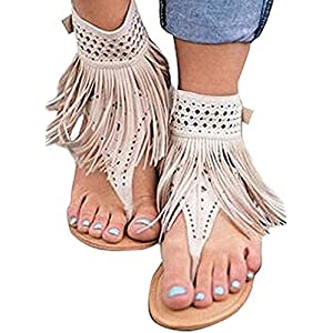 Ru Sweet Womens Suede Tassels Thong Flat Sandals Flip Flops Fringe Shoes