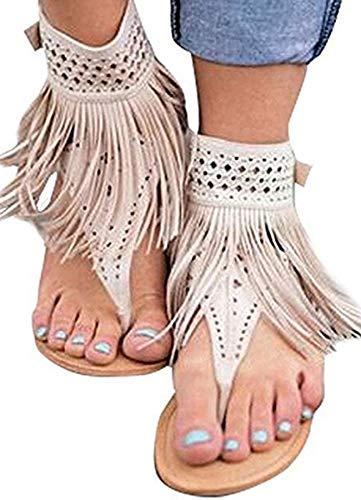 (Ru Sweet Womens Suede Tassels Thong Flat Sandals Flip Flops Fringe Shoes)