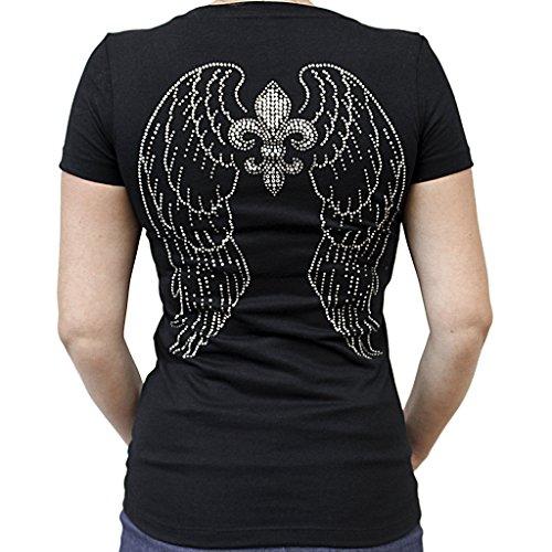 Ladies Rhinestone Fleur De Lis Wings V-Neck (Rhinestone Fleur De Lis Tee)