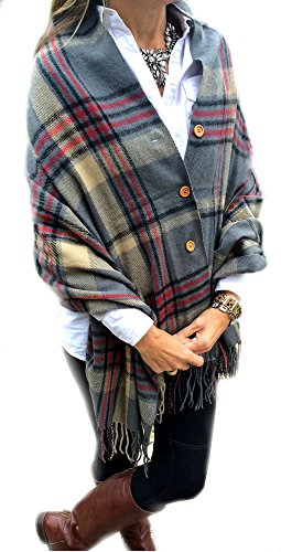 [Pretty Simple Plaid Button Blanket Scarf Shawl Women's Wrap (Grey)] (Pirate Coat For Sale)