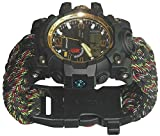 Military Paracord Survival Whistles Sport Swimming Wrist Watch Tactical Bracelet Compass