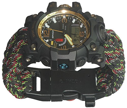 Military Paracord Survival Whistles Sport Swimming Wrist Watch Tactical Bracelet Compass by Generic