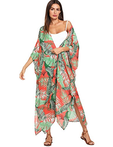 SweatyRocks Women's Flowy Kimono Cardigan Open Front Maxi Dress Long Cover Ups Red L ()