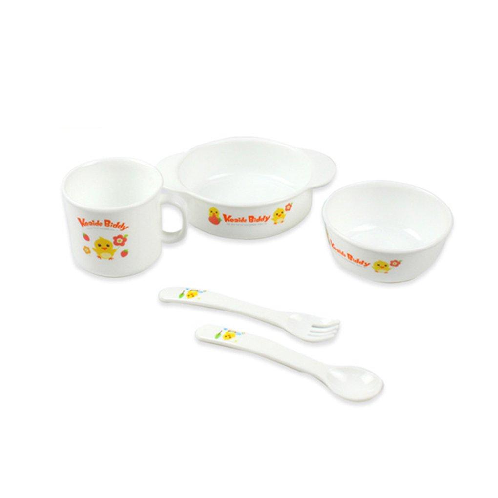 Chilie 5 Piece Baby Dinnerware Set Non-toxic Lightweight Bamboo No BPA Chicken Animals Pattern Feeding Set Kids