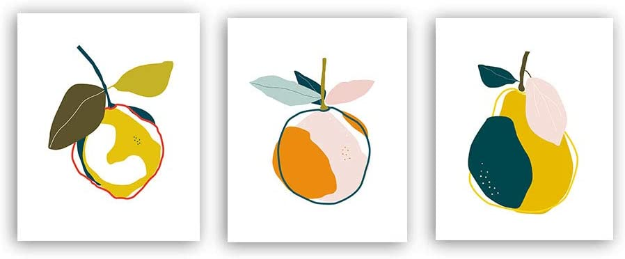"""XUN Colorful Fruit Art Print- Abstract Orange Pear Lemon Botanical Canvas Wall Art-(8""""X10""""X3 Pieces, Unframed)-Perfect for Kids Room Kitchen Decoration"""