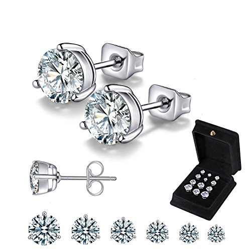 Anni Coco 18K White Gold Plated Stainless Steel Brilliant Cut Round Clear CZ Stud Earrings, 4-9mm 6 Pairs