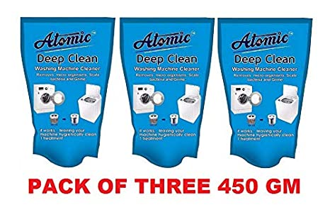 Atomic Washing Machine Cleaning Powder for LG, Samsung, IFB, Bosch,  Whirlpool, Haier, Godrej Top/Front Load[PACK OF 3] 450gm