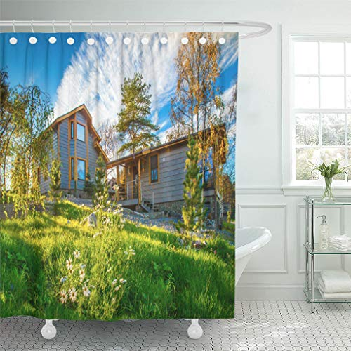 Semtomn Shower Curtain Countryside Settlement Private Houses Cottage on Sunny Day Cottages Shower Curtains Sets with 12 Hooks 72 x 72 Inches Waterproof Polyester Fabric