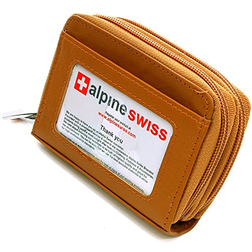 Womens Tan Mini Leather (Alpine Swiss Womens Accordion Organizer Wallet Leather Credit Card Case ID,Retro Tan,One Size)
