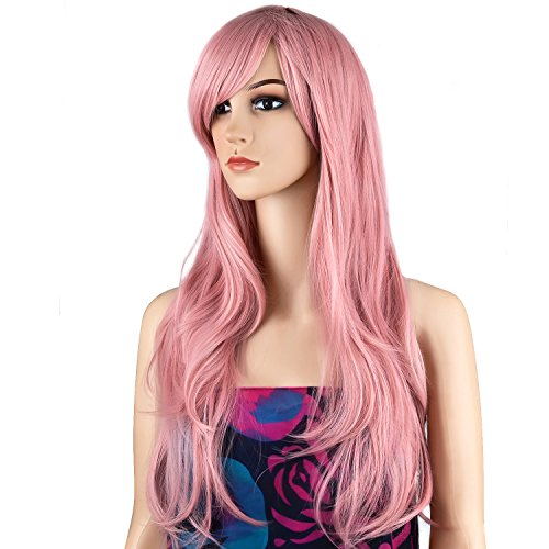 Dress Up Wig (Ecvtop Wigs 28 Inch Wavy Curly Cosplay Wig Women Wig Long Hair Heat Resistant Wig (Pink))