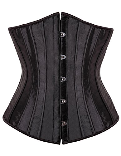 Kiwi-Rata Women's Underbust Waist training 26 Spiral steel boned Corset (XL, Black) (Plain Black Corset)