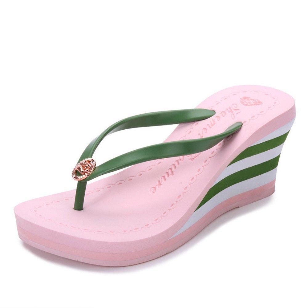 Angel love beauty Chanclas de Plataforma de Mujer Sandalias de cuña de Color Puro Zapatillas de Playa Diapositivas Chanclas de tacón 36 2/3 EU|Pink