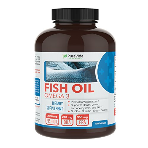 PuraVida Omega 3 Fish Oil Supplement, Burpless, 180 Capsules ()