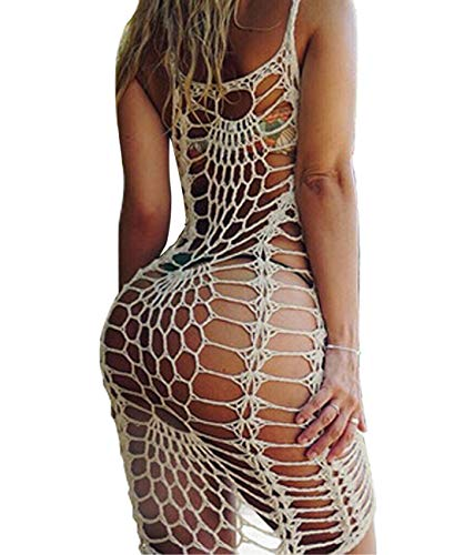 shermie Women#039s Airy Crochet Lace Swimsuit Cover Ups Beige L