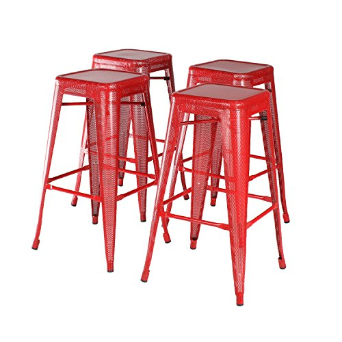 Kate and Laurel Tallis Backless Perforated Metal Stackable Sturdy Lightweight 30 inch High Bar Stools, Red, Set of 4