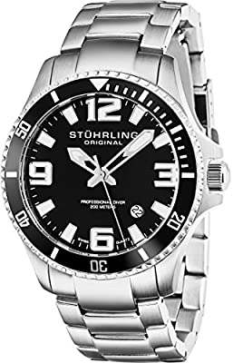 Stuhrling Original Men's 395.33B11 Aquadiver Regatta Analog Swiss Quartz Stainless Steel Link Bracelet Watch