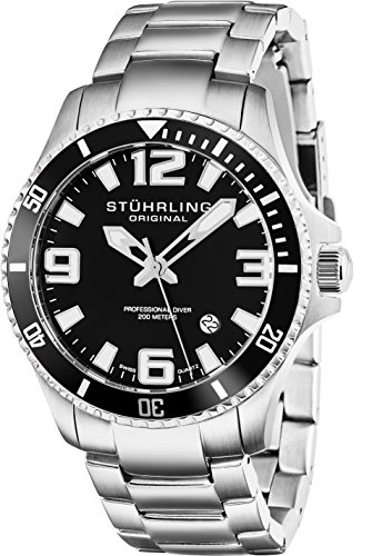 (Stuhrling Original Mens Swiss Quartz Stainless Steel Sport Analog Dive Watch, Water Resistant 200 Meters, Black Dial, Aqua-diver 395.33B11)