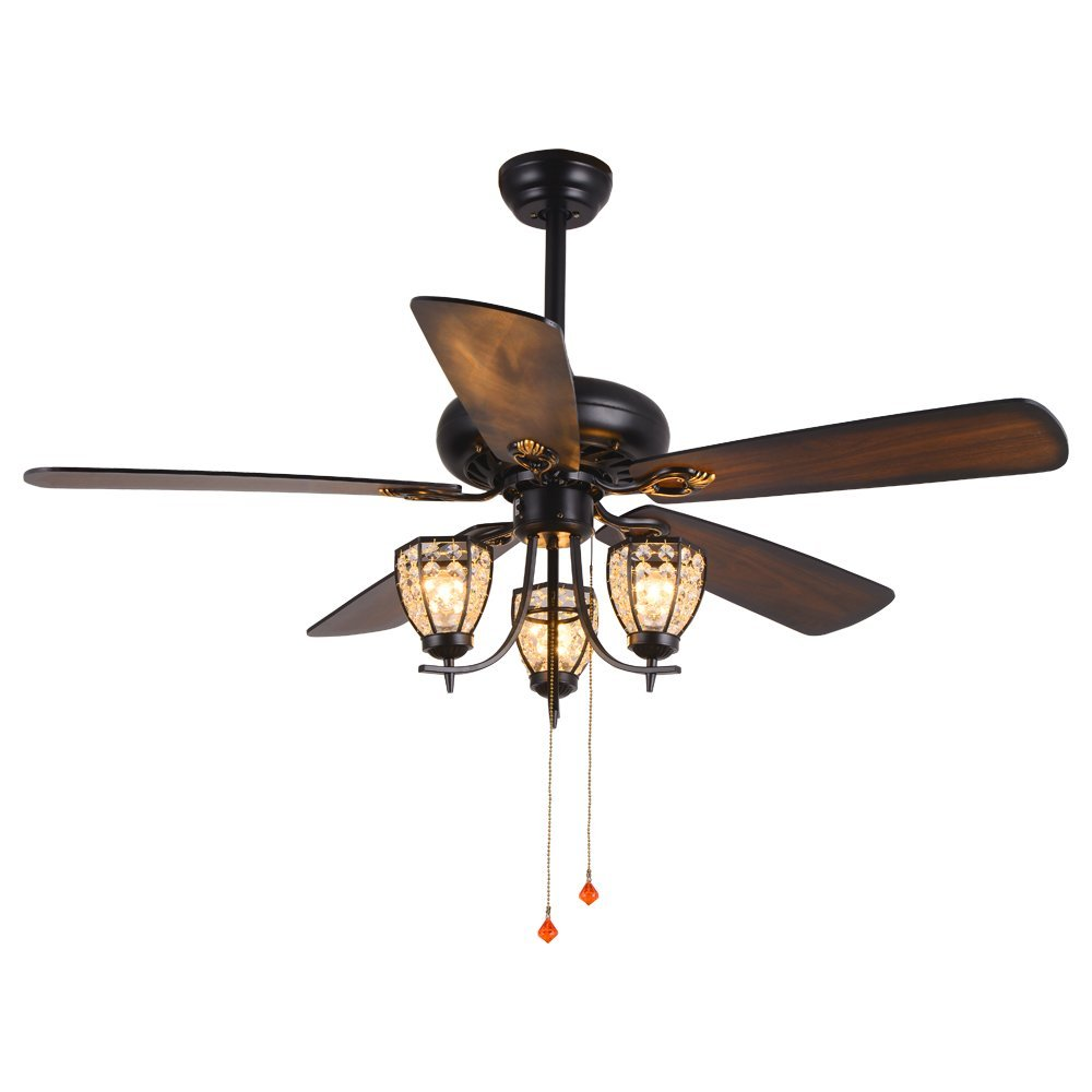 RainierLight Rustic Ceiling Fan Lamp 3 Cryatal Lampshade 5 Wood Blade Remote Control Led Light Chandelier for Bedroom/Living Room Mute Energy Saving Fan (52inch)