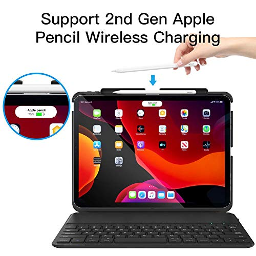 iPad Pro 11 Keyboard Case, Yoozon Detachable Wireless Bluetooth Keyboard Cover Adjustable Stand with Pencil Holder Support 2nd Gen Apple Pencil Charging for iPad Pro 11 Inch 2018, Black
