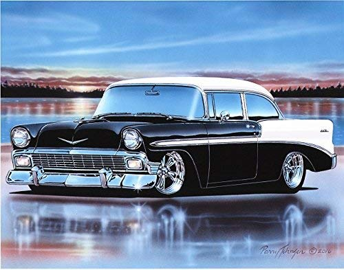 1956 Chevy Bel Air 2 Door Sedan Hot Rod Car Art Print Black & White 11x14 Poster