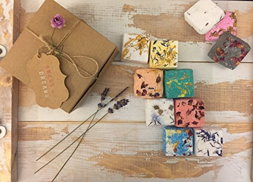 Aromatherapy- Bath Bomb Squares- Set of 8- Need A Uplift- Botanicals- Peppermint-Frankincense-Lemon - Gift Boxed- Pretty- by JUST FOR ME