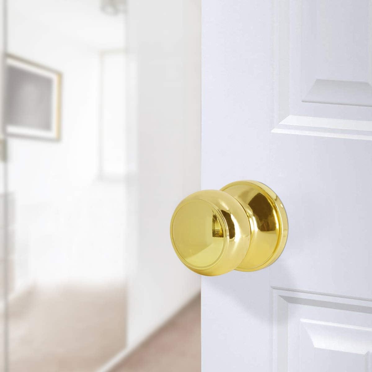 cuarto de ba/ño Pomo de puerta de lat/ón pulido con forma de bola de privacidad de acero s/ólido dormitorio manija de puerta de seguridad interior para trastero