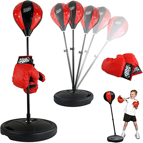 Liberty Imports Sport Boxing Set Punching Bag with Gloves – Punching Ball for Kids Adjustable Height (43 Inches)