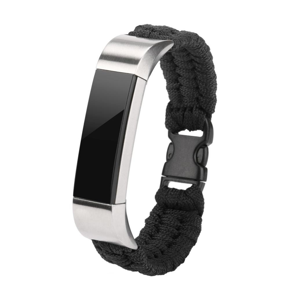 Kanzd New Nylon Rope Survival Bracelet Watch Band For Fitbit Alta/Fitbit Alta HR (Black)