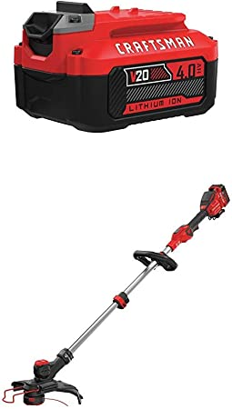 Amazon Com Craftsman Cmcst910m1 V20 Max String Trimmer With Cmcb204 20v Max 4 0ah Li Ion Battery Garden Outdoor