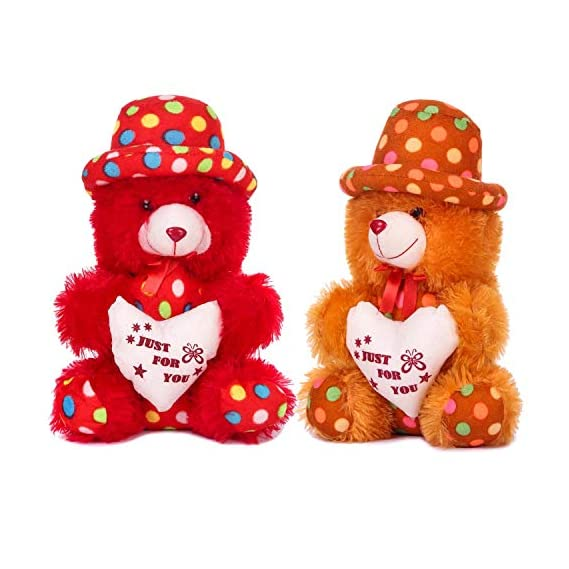 Fclues Soft Toy Cute Teddy Bear or Birthday Valentine Day Gifts Set of 2 Red & Brown Color