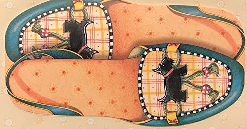 (8) Mary Engelbreit Die-Cut Note Cards and Envelopes - Scottish Terrier Slipper Shoes - Decorated Envelopes