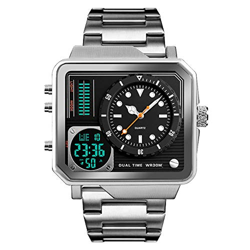 Men's Digital Sports Watch, LED Square Large Face Analog Quartz Wrist Watch with Multi-Time Zone Waterproof Stopwatch (Silver)