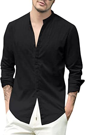 Mens Long Sleeve Loose Casual Cotton Linen Button Blouse Fitted Tee Top T-shirts