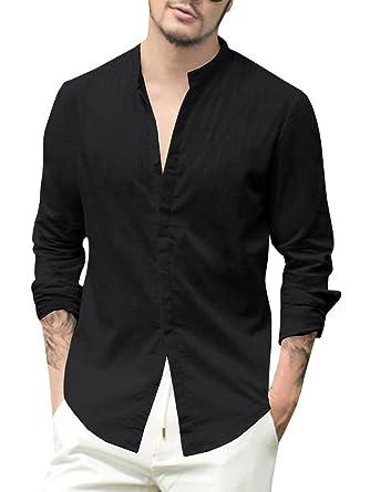 b6be4efbfe2 Enjoybuy Mens Linen Cotton Casual Long Sleeve Shirt Loose Fit Summer Beach  Shirts