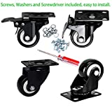 "Plate Casters, DICASAL 2"" Swivel Rubber Heavy Duty Furniture Castors Rollers, PU Non-Marking Noiseless Wheels 2 with Brakes and 2 Unlocks Black"