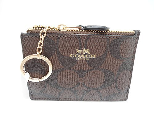 COACH F16107 MINI SKINNY ID BADGE KEY RING CASE BROWN/ BLACK