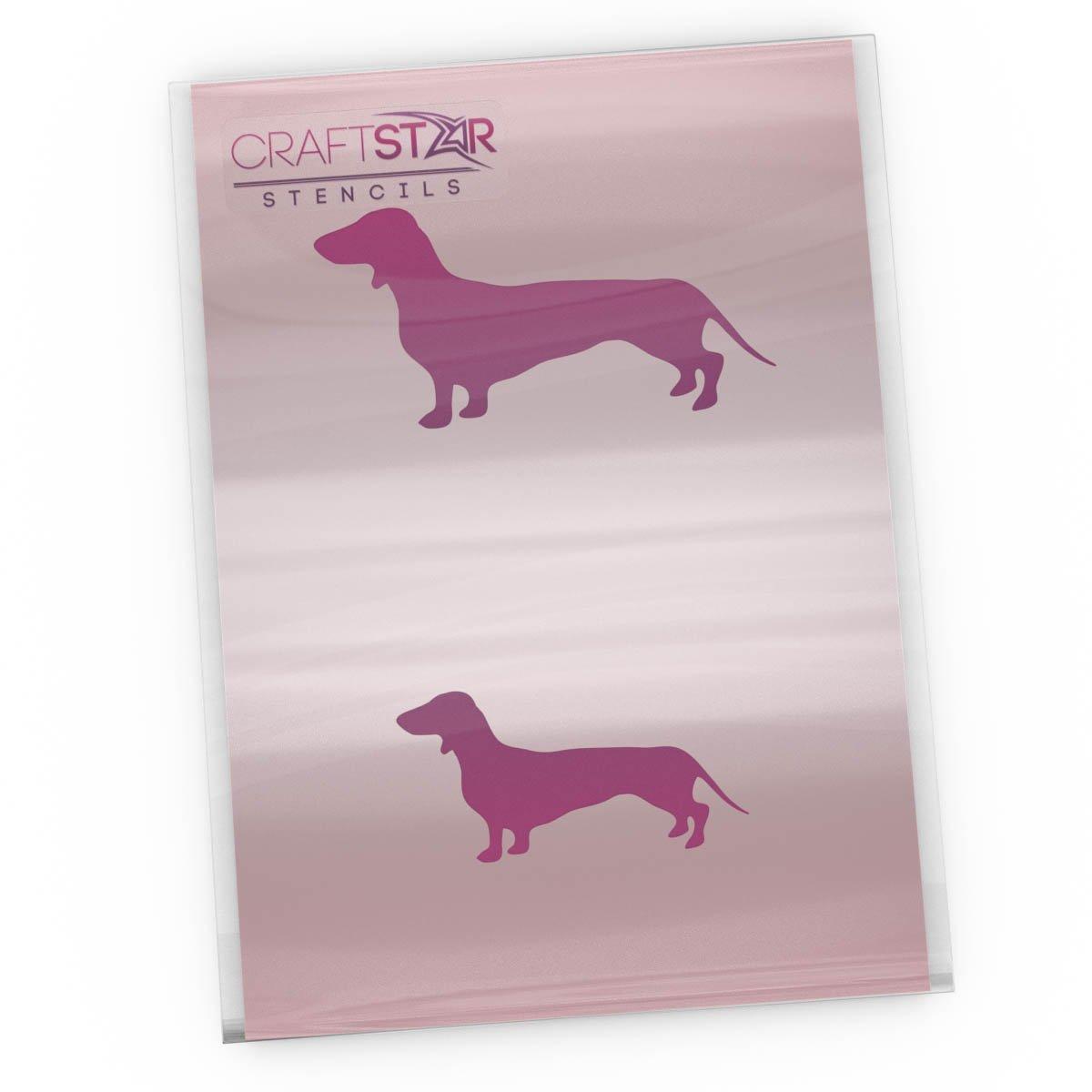 CraftStar Dachshund Stencil - Reusable Small Sausage Dog Stencil Set