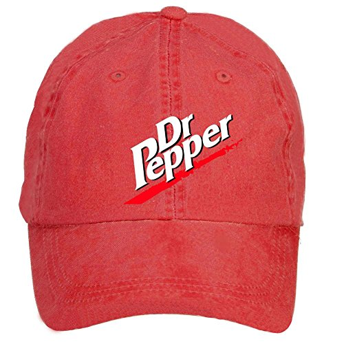 HUANYU Dr.Pepper Logo Licensed Cotton Washed Baseball Cap One Size Hat With Adjustable Velcro